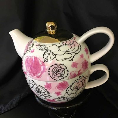 2-Piece-'Tea-For-One'-large-set,--pink-flowers-w-gold-trim.-WEB