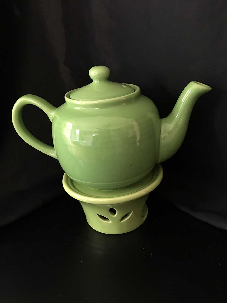 2 pc kelly green tea pot w warmer emerald necklace inn Green tea pot set